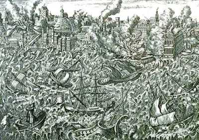 CANDIDE 1755_Lisbon_earthquake This 1755 copper engraving shows the ruins of Lisbon in flames and a tsunami overwhelming the ships in the harbour.